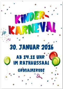 Kinderkarneval am 30.01.2016